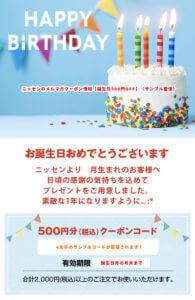 ニッセンのメルマガクーポン情報(誕生日500円割引)サンプル画像