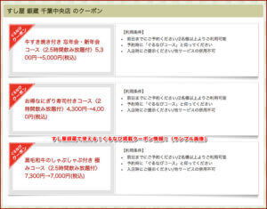 すし屋銀蔵で使える!ぐるなび掲載クーポン情報!(サンプル画像)